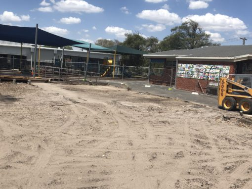 before and after the removal of contaminated soil at Amsleigh Park Primary School