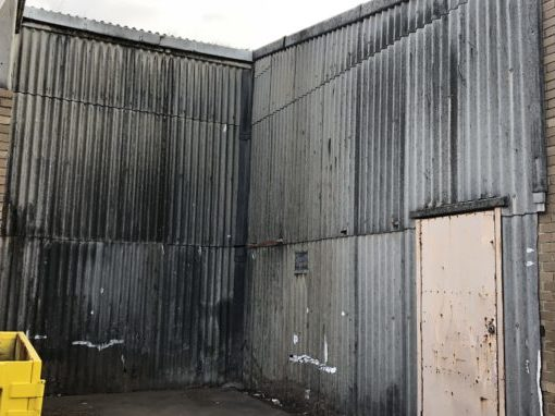 before and after photos from an asbestos removal project. the factory was in reservoir