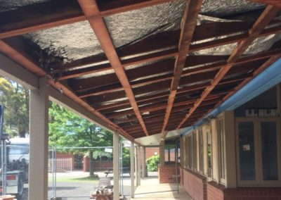 Ballarat Grammar junior school after having the ceiling removed from the under cover area